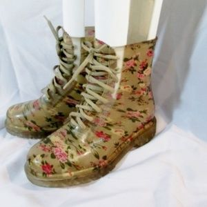 DIVIANA Floral Jelly Wellies Chukka Combat Boot